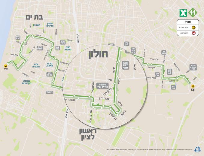 עיצוב מפת מסלול קו האוטובוס 11 בחולון
