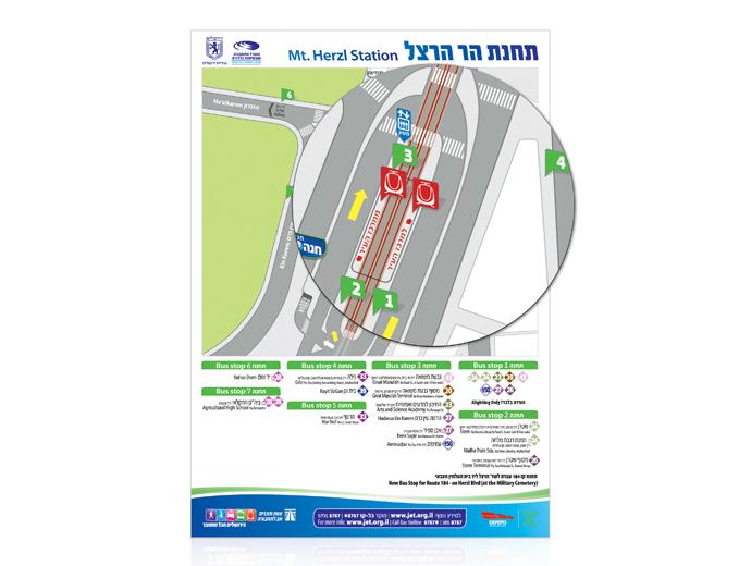 עיצוב מפת תחנת הרכבת הקלה בהר הרצל בירושלים