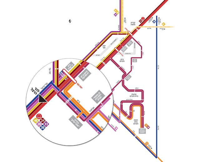 עיצוב מפת קווי אוטובוס בשכונת בית הכרם בירושלים