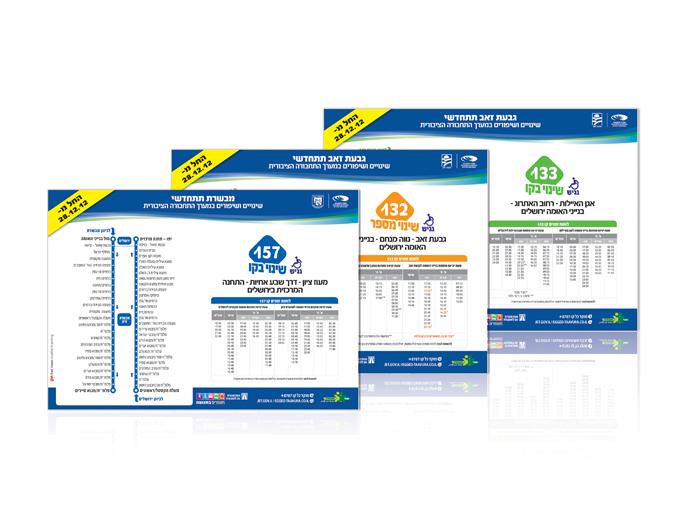 עיצוב פלקט מידע לתחנות אוטובוס בגבעת זאב ומבשרת ציון