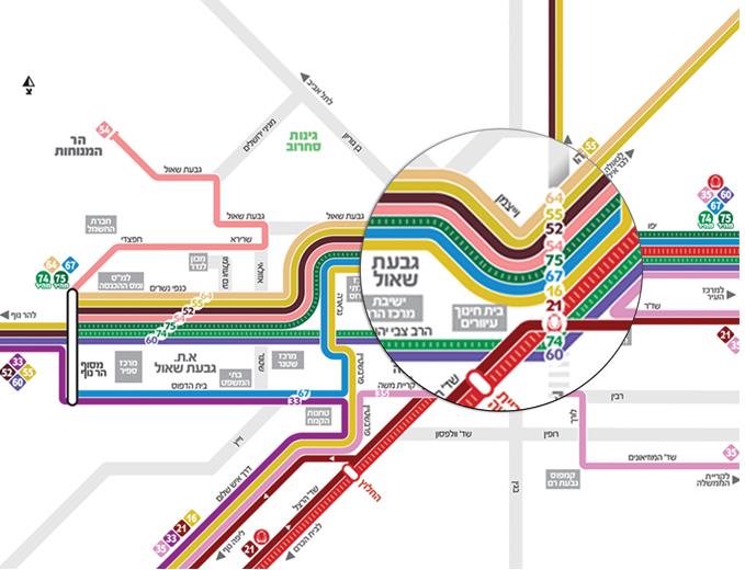 עיצוב מפת רשת קווי אוטובוס בגבעת שאול ירושלים