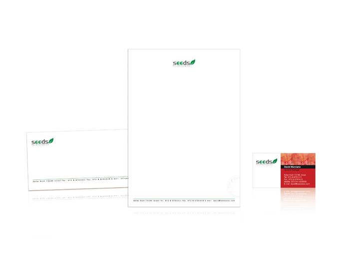 עיצוב ניירת משרדית למיתוג חברת זרעים טכנולוגיות