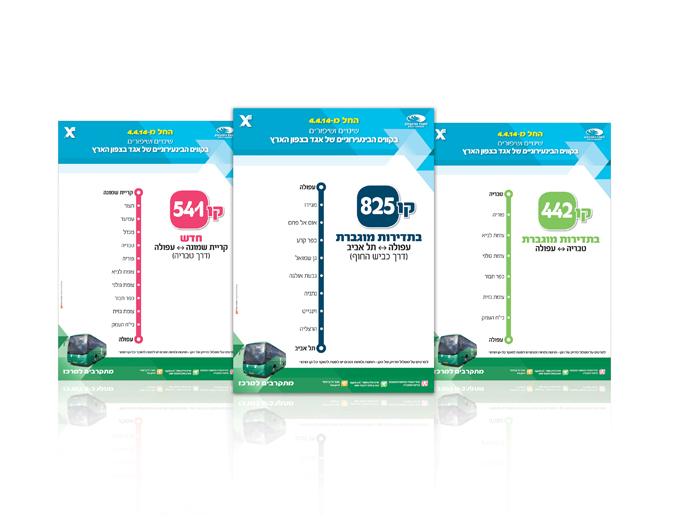 שינויי תחבורה של אגד בצפון הארץ- פלקט מידע לתחנות אוטובוס
