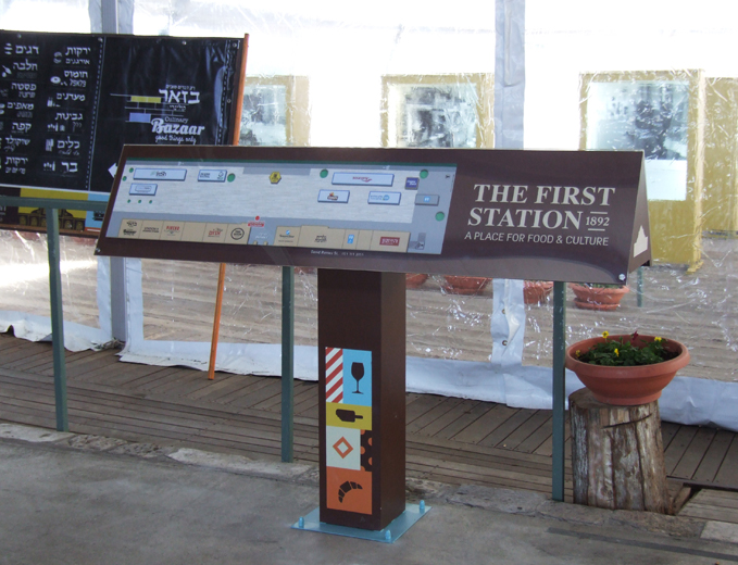שלט מפת הכוונה ראשי התחנה הראשונה בירושלים