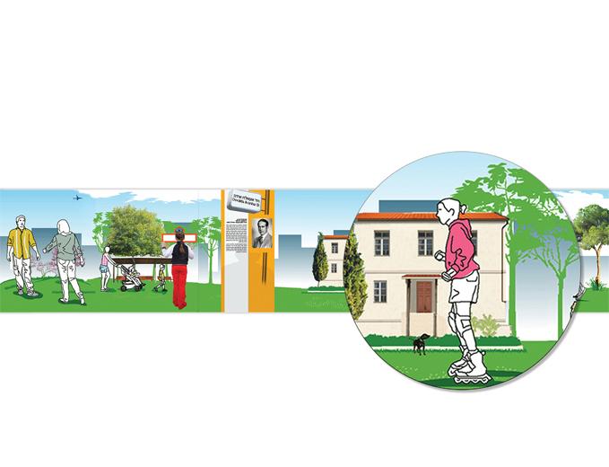 איור מקורי - גדר דקורטיבית מתחם שרונה תל אביב