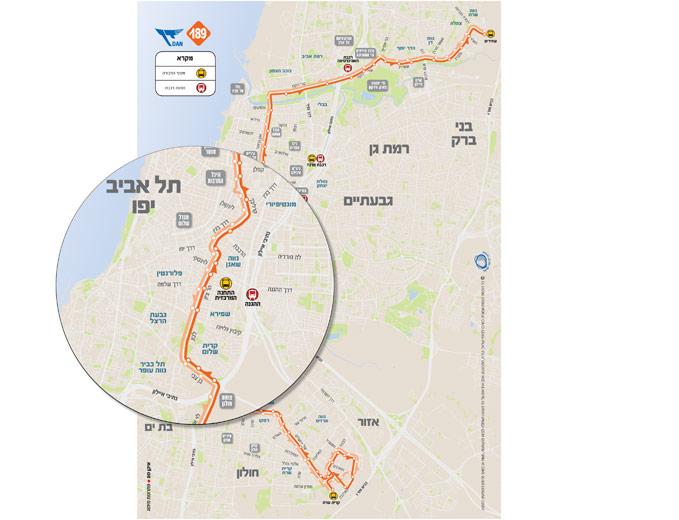 עיצוב מפת מסלול קו 189 בתל אביב