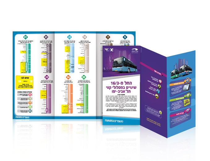 עיצוב עלון מידע מתקפל לשינויי קווי אוטובוס בגוש דן