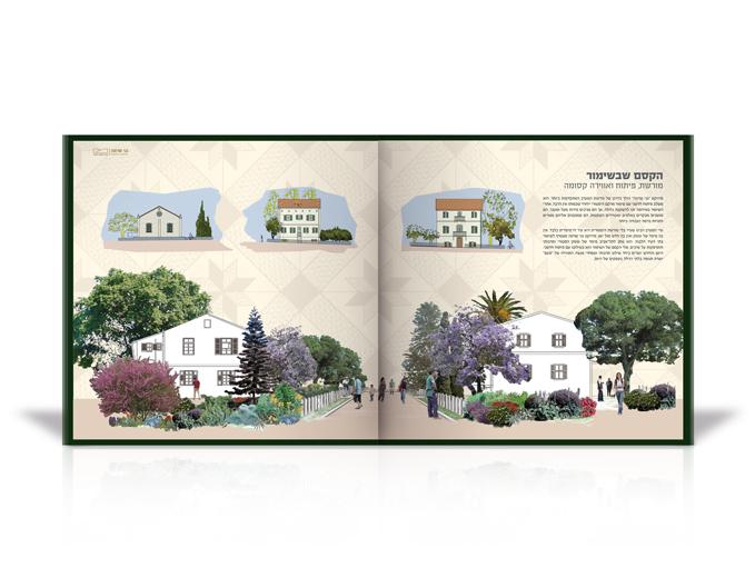 עיצוב חוברת שיווק גני שרונה בתל אביב- כפולת פנים שימור