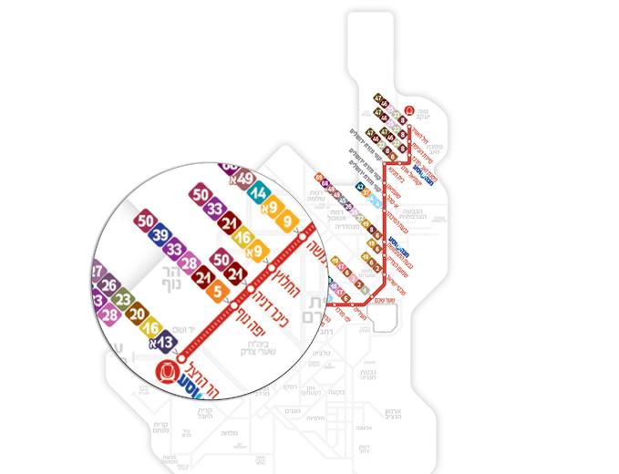 עיצוב מפת ציר הרכבת הקלה וממשקי אוטובוס בירושלים