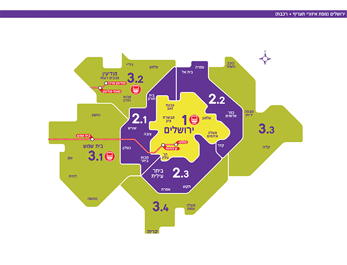 רפורמת תעריפי תחבורה ציבורית - מפה